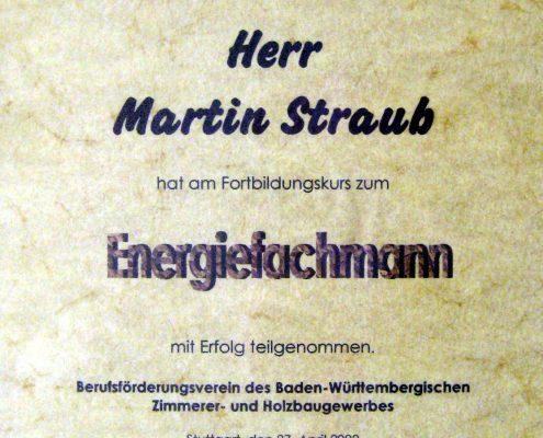 Energiefachmann Zertifikat