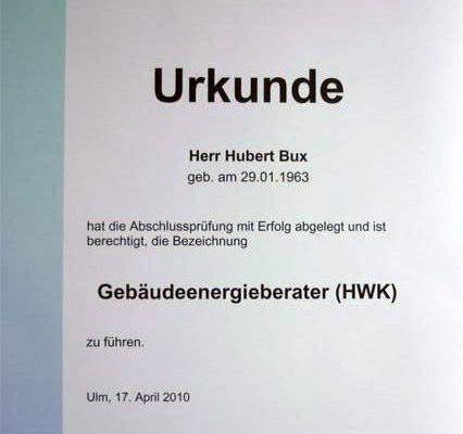 Gebäudeenergieberater Zertifikat